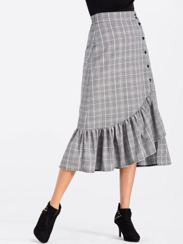 High Waisted Flounce Plaid Midi Skirt high waisted bodycon midi skirt