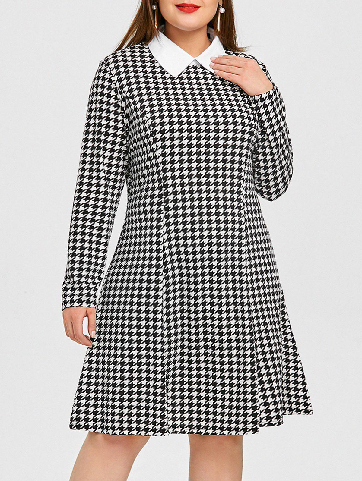 2018 Plus Size Shirt Collar Houndstooth Dress Black Xl In Casual