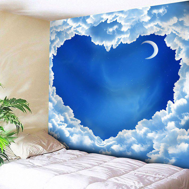 Sky Moon Cloud Heart Pattern Wall Art Valentine's Day Tapestry valentine s day heart starlight print tapestry wall hanging decoration