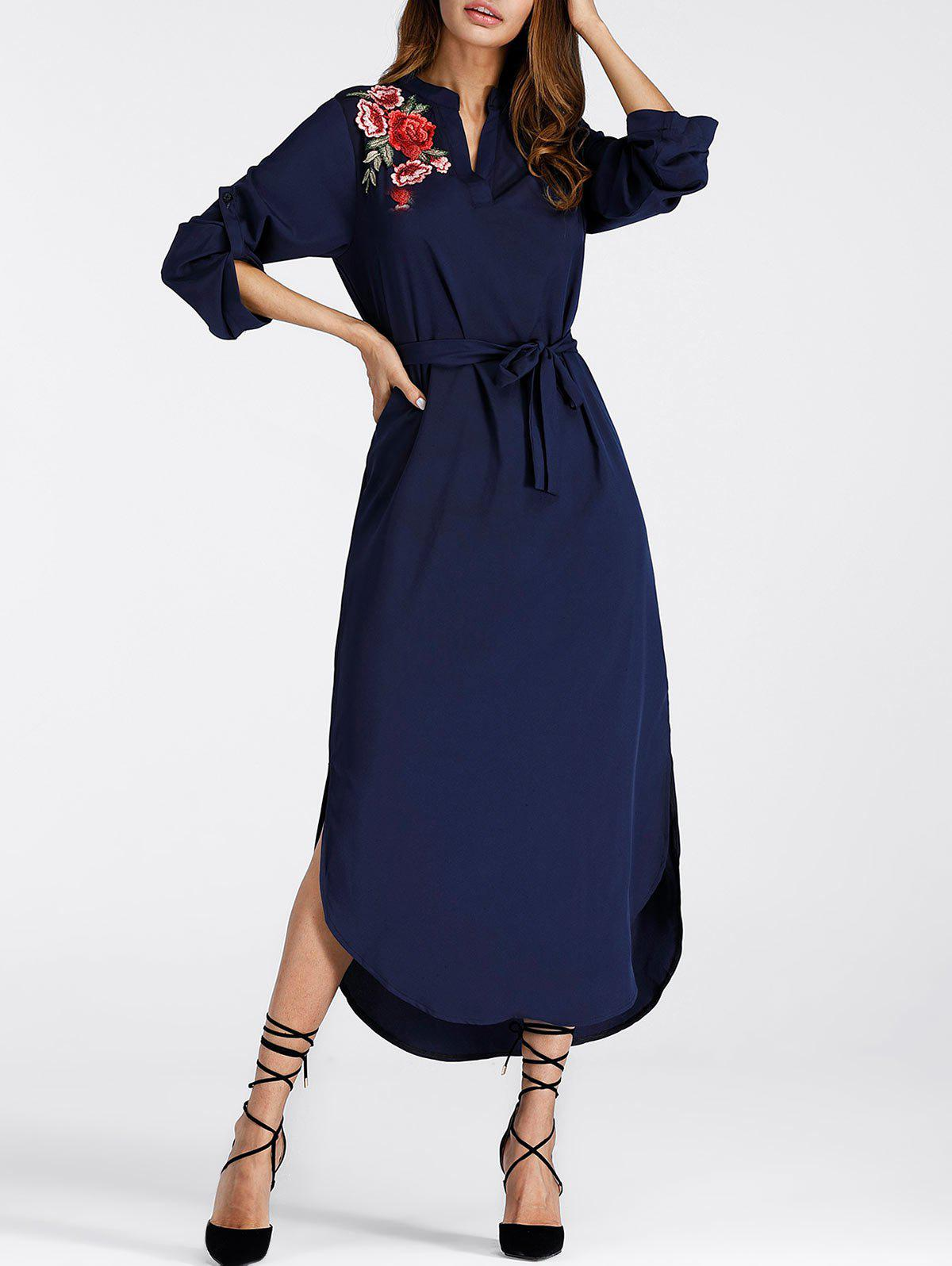 Embroidered Slit Midi Shift Dress - DEEP BLUE XL
