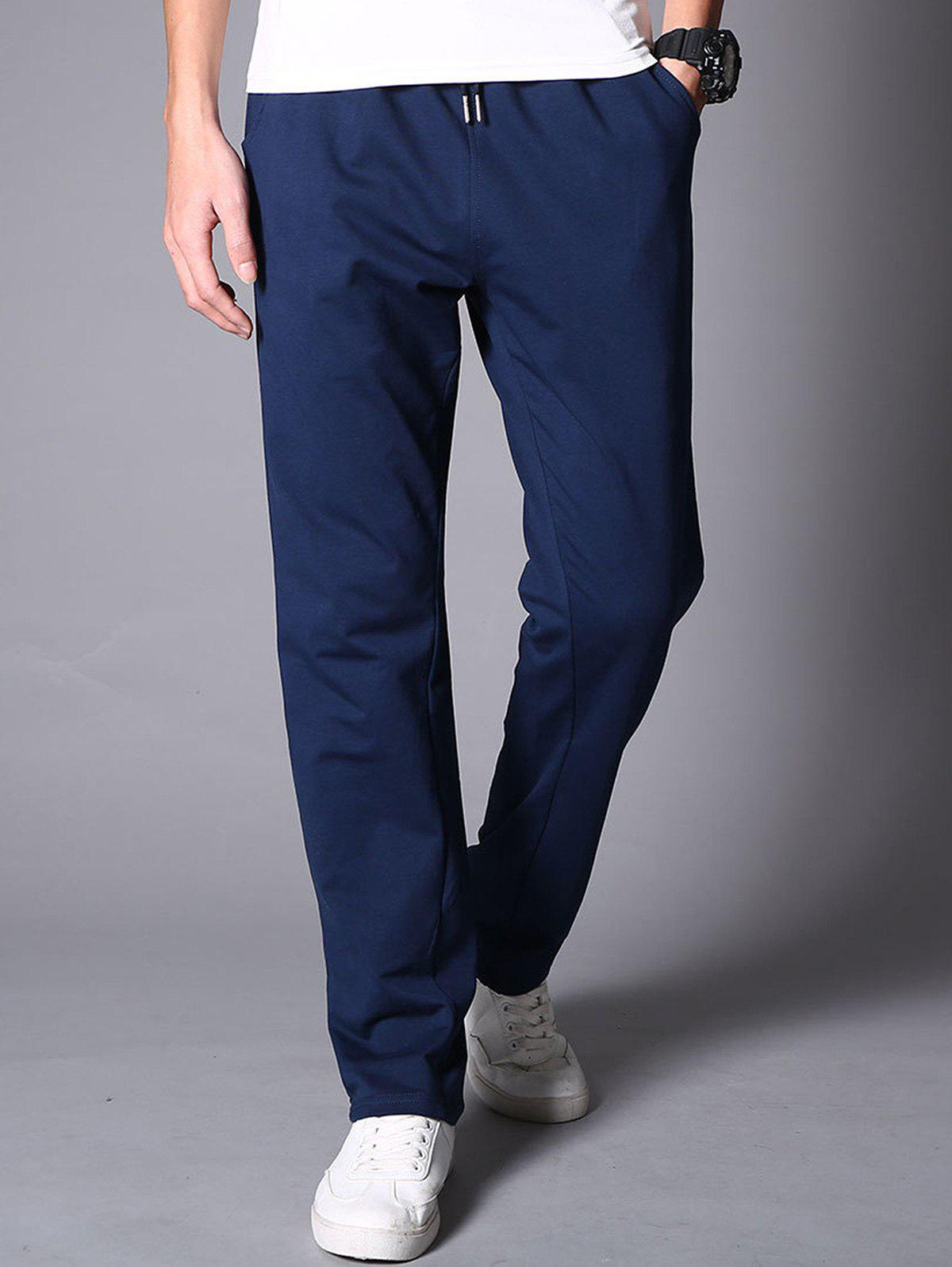 Casual Drawstring Straight Leg Sweatpants - BLUE 2XL