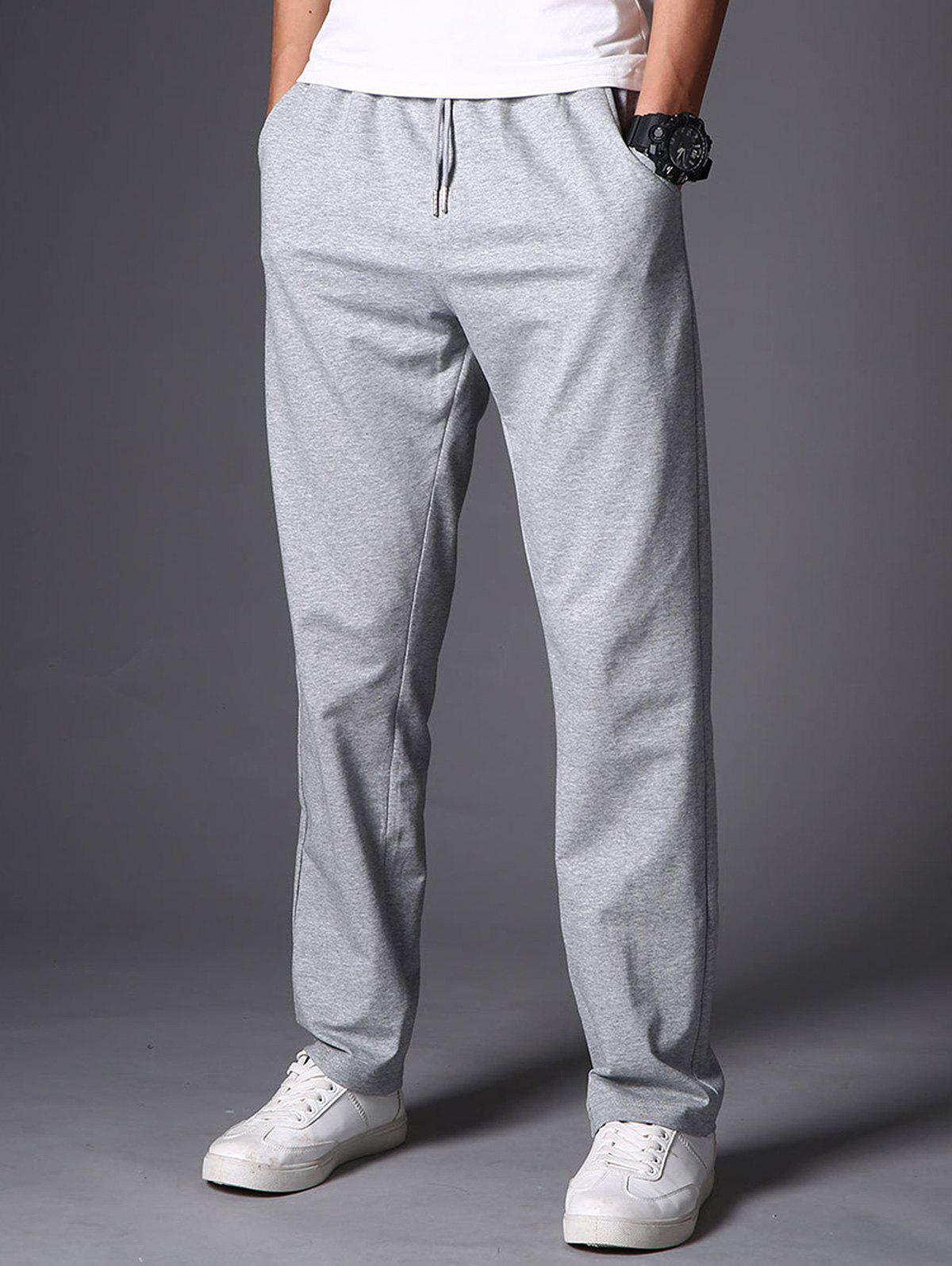 Casual Drawstring Straight Leg Sweatpants - LIGHT GRAY 4XL