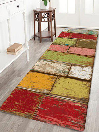 Vintage Color Block Skidproof Flannel Bath Rug vintage color block skidproof flannel bath rug