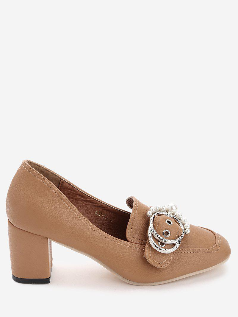 Faux Pearl Round Buckled Chunky Heel Pumps - BROWN 36