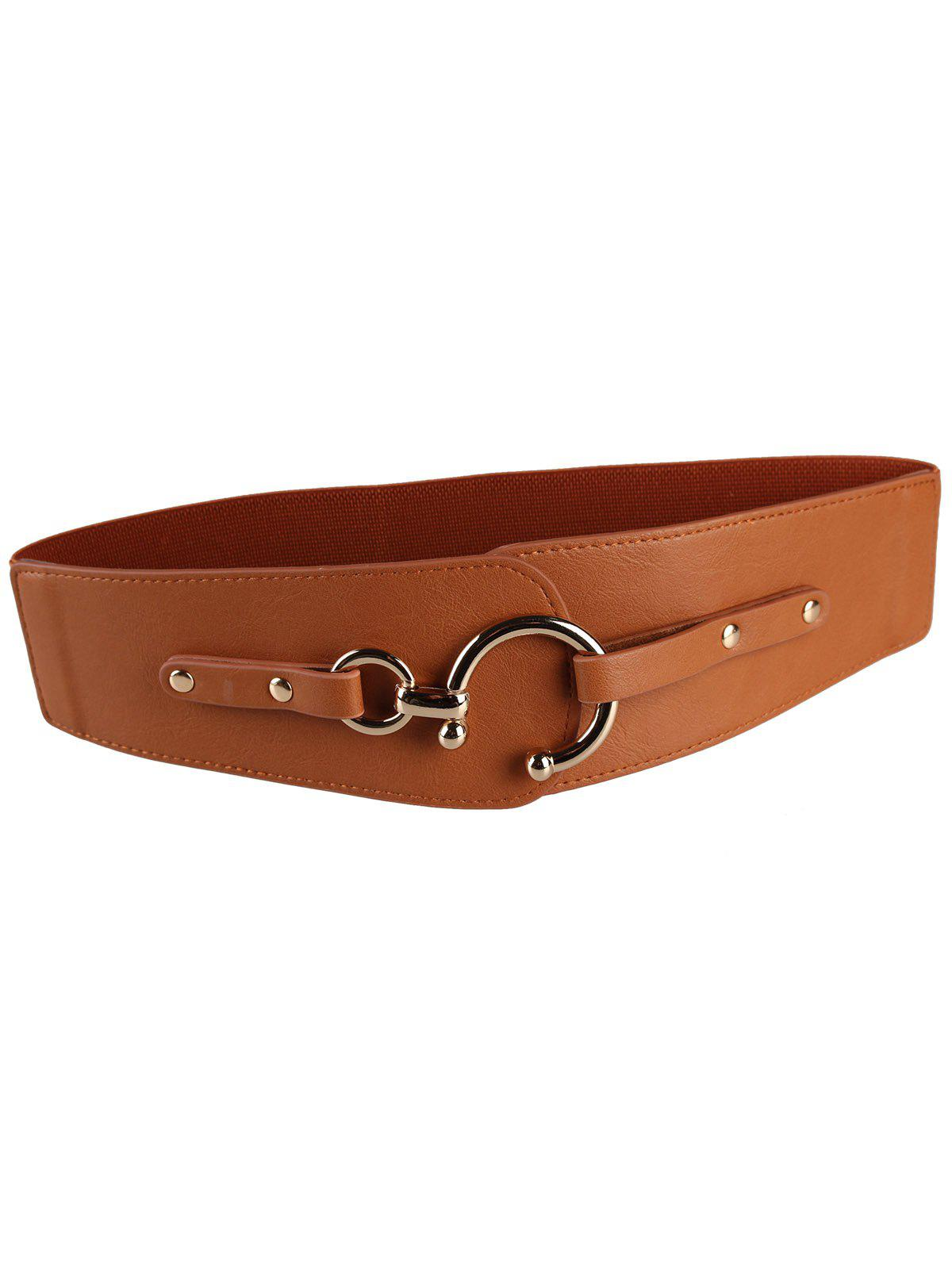 Retro Metal Round Buckle Artificial Leather Wide Waist Belt - CHOCOLATE