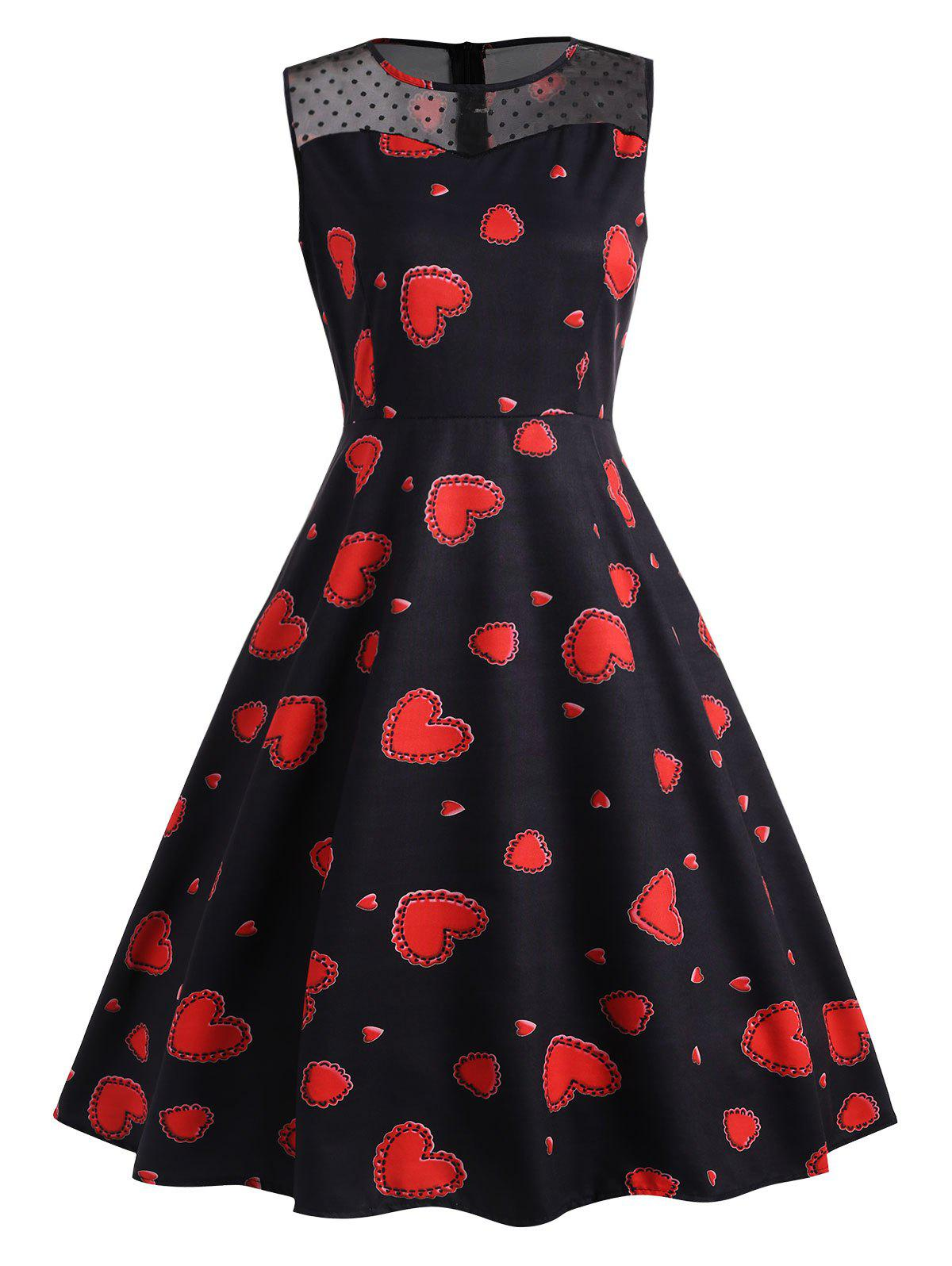Heart print lace insert vintage dress red black xl in