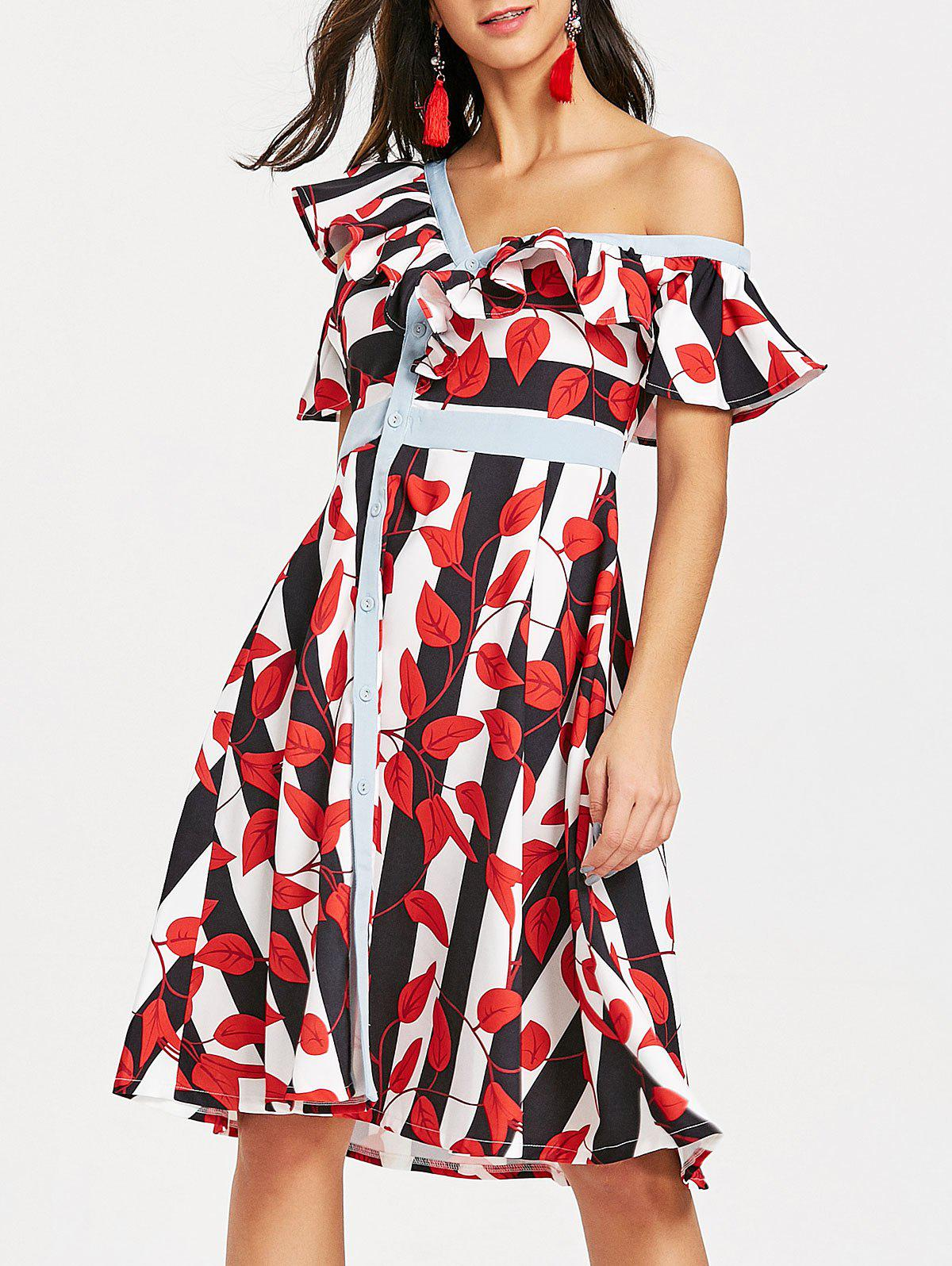 Skew Neck Striped Leaves Print Dress - RED S