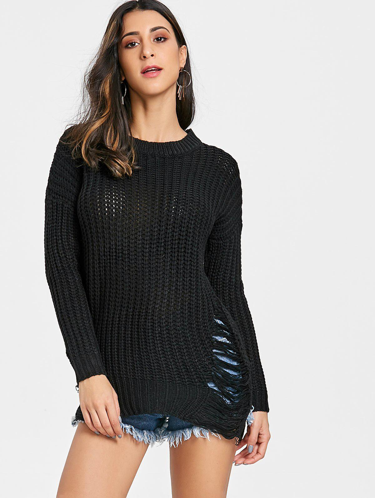 Chunky Knit Ripped Sweater - BLACK ONE SIZE