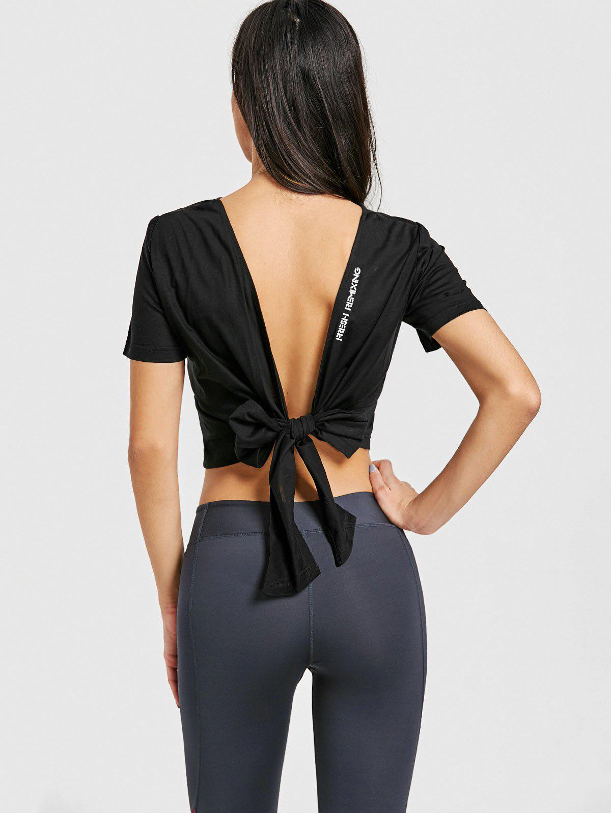 Sports Back Wrap Cropped T-shirt - BLACK S