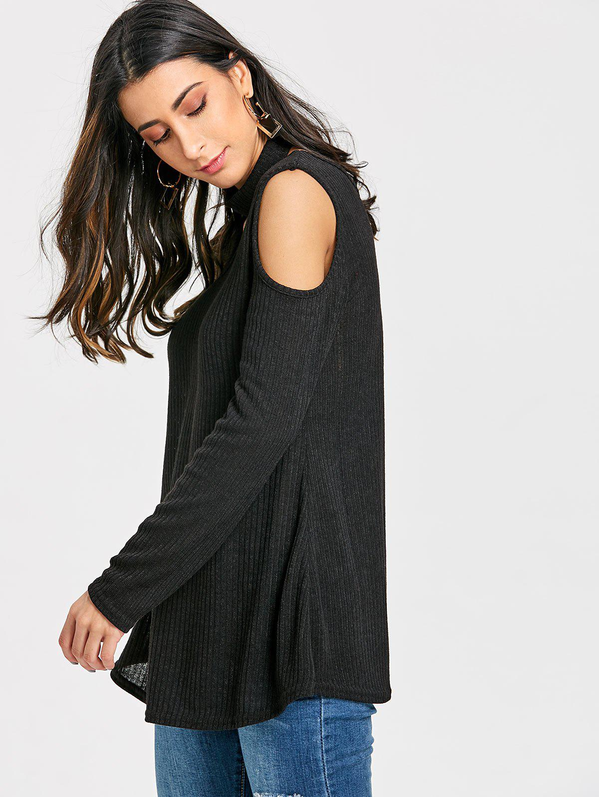 V Neck Cold Shoulder Sweater with Choker - BLACK S