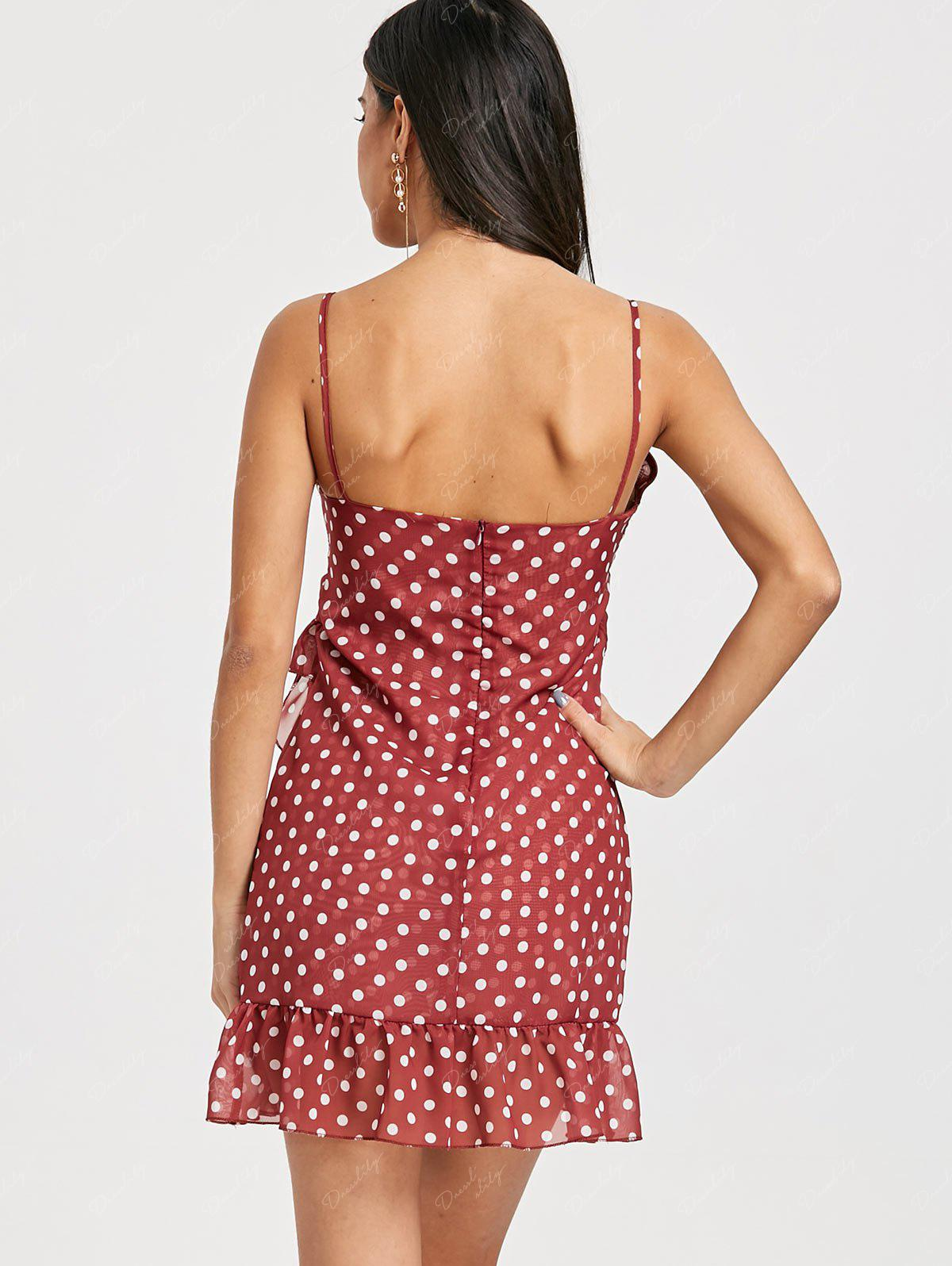 Polka Dot Ruffle Cami Asymmetrical Dress - RED BROWN 2XL