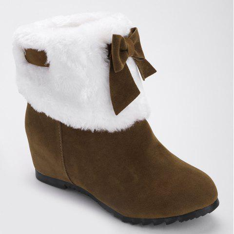 Hidden Wedge Bow Fuzzy Short Boots - BROWN 39
