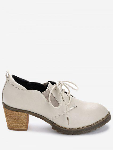 Almond Toe Lace Up Ankle Boots - BEIGE 39