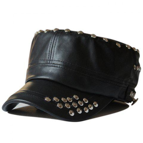 Rivet Decorated PU Leather Military Hat - BLACK