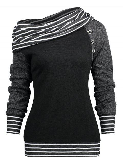 Stripe Trim Raglan Sleeve Skew Neck T-shirt - BLACK M