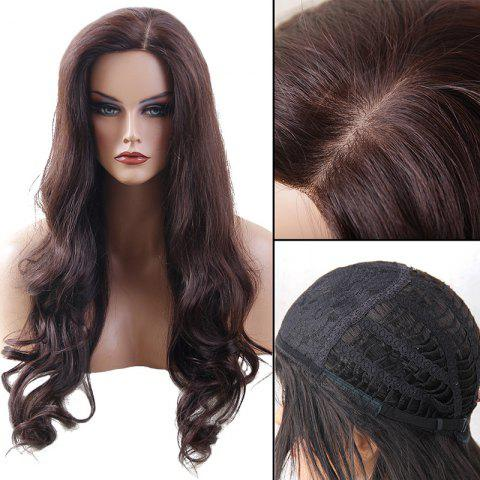Long Side Parting Wavy Heat Resistant Synthetic Fiber Wig - BROWN