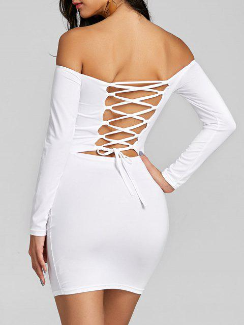 Long Sleeve Back Criss Cross Bodycon Dress - WHITE L