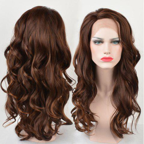 Long Side Parting Wavy Colormix Lace Front Synthetic Fiber Wig - COLORMIX