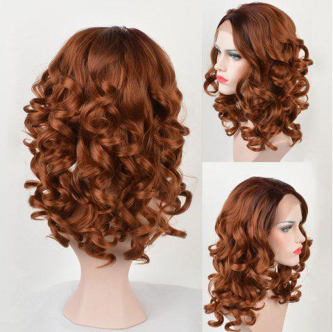 Long Colormix Side Parting Body Wave Synthetic Lace Front Wig - GRADIENT COLOR