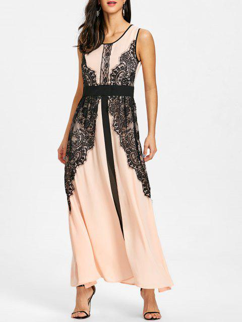 Lace Insert Maxi Prom Dress - PINK M