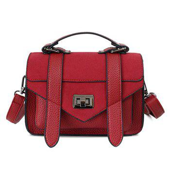 Stitching Flap Crossbody Bag - RED RED
