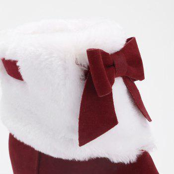 Hidden Wedge Bow Fuzzy Short Boots - RED 39