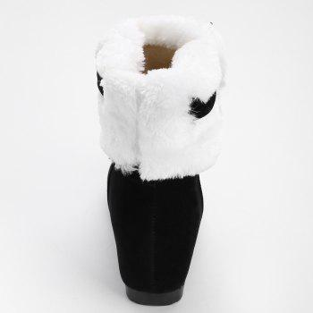 Hidden Wedge Bow Fuzzy Short Boots - BLACK 36