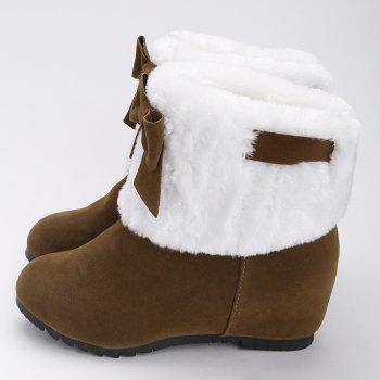 Hidden Wedge Bow Fuzzy Short Boots - BROWN 38