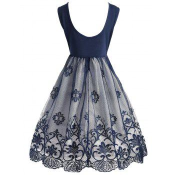 Robe de cocktail à dos nu en dentelle - Bleu S