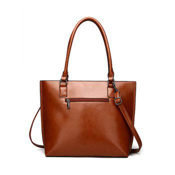 Faux Leather Shoulder Bag with Wristlet - DEEP BROWN