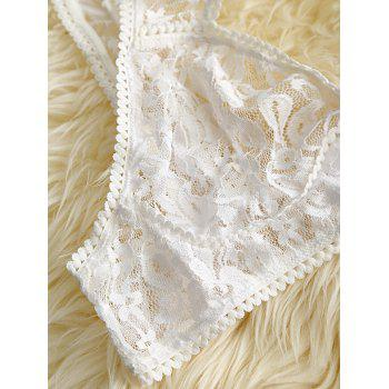 High Neck Lace Bra Set with Garter Skirt - WHITE S