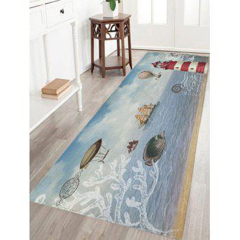 Nautical Elements Print Flannel Skidproof Bath Mat - COLORMIX COLORMIX