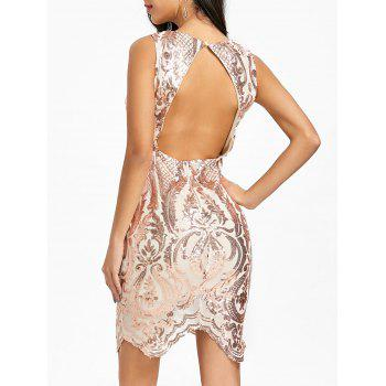Backless Plunging Neck Sequin Bodycon Dress - CHAMPAGNE CHAMPAGNE