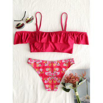Flounce Off The Shoulder Floral Bikini - RED RED