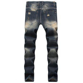Straight Leg Zip Fly Vintage Distressed Jeans - DEEP BLUE 42