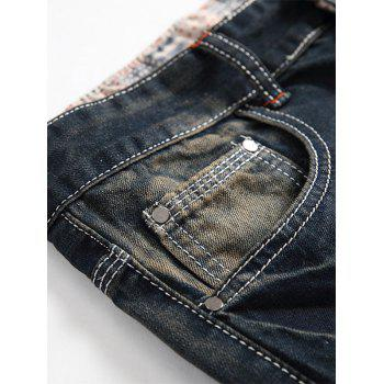 Straight Leg Zip Fly Vintage Distressed Jeans - DEEP BLUE DEEP BLUE