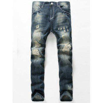 Faded Straight Leg Distressed Jeans - BLUE BLUE