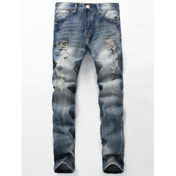 Distressed Faded Jeans with Straight Leg - BLUE BLUE
