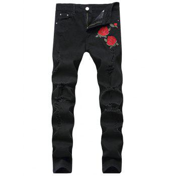 Floral Embroidery Straight Leg Ripped Jeans - BLACK BLACK