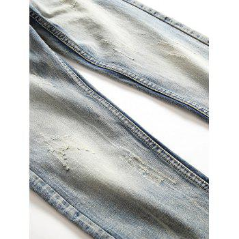 Straight Leg Whisker Design Faded Jeans - LIGHT BLUE 42