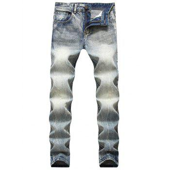 Straight Leg Light Wash Whisker Jeans - LIGHT BLUE LIGHT BLUE