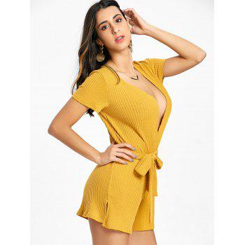 Rib Surplice Neck Belted Romper - YELLOW XL