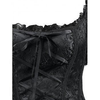 Off-The-Shoulder Mesh Lace-Up Corset Top With Sleeve - BLACK S