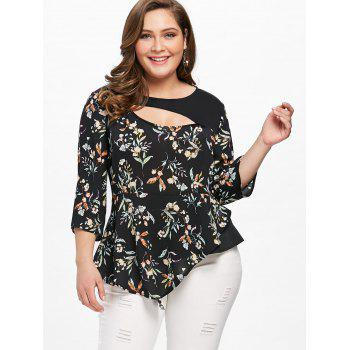 Plus Size Tiny Floral Cutout Asymmetric Blouse - BLACK 5XL