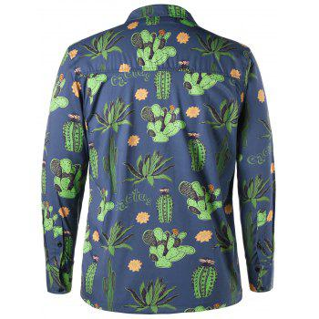 Notched Collar Cactus Pattern Shirt - BLUE L