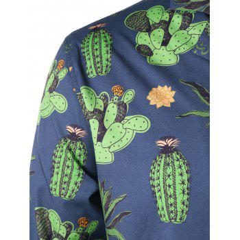 Notched Collar Cactus Pattern Shirt - BLUE 2XL