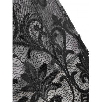 Backless Lace Mesh Panel Cocktail Dress - BLACK S