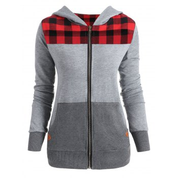 Plus Size Plaid Trim Zip Up Hoodie - GRAY AND RED GRAY/RED
