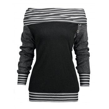 Stripe Trim Raglan Sleeve Skew Neck T-shirt - BLACK 2XL
