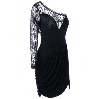 One Shoulder Lace Panel Ruched Dress - BLACK XL